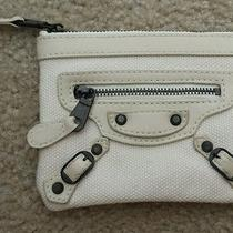 Balenciaga Off White Canvas Coin Purse  as Is Photo