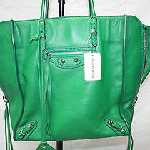 Balenciaga Papier A5 Leather Tote Green Mint Pristine Condition. Photo