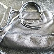 Balenciaga Papier Mini Zip Around Black Leatherhandbag/tote W/ Sac  Photo