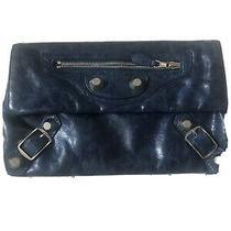 Balenciaga Paris Blue Leather Clutch W/ Silver Hardware Photo