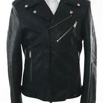 Balenciaga Paris Blue Leather Zip Closure Military Coat Size 52 3750 New 96719 Photo