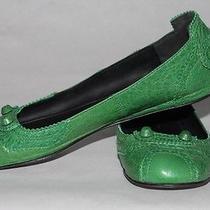 Balenciaga Paris Green Leather Ballerina Flats Size 37 Photo