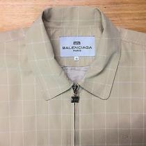 Balenciaga Paris Grid Bomber Jacket Beige Mens Size M High End Fashion Vintage  Photo