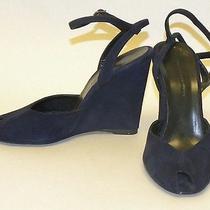 Balenciaga Paris Sz 37(7) Navy Blue Suede Peep-Toe Wedge High Heel Pumps Shoes Photo