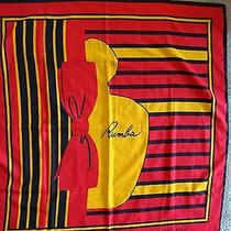 Balenciaga Paris Vintage Red Black Yellow Graphic Rumba Perfume Bottle Scarf Photo