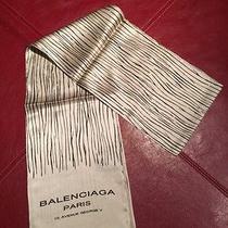 Balenciaga Paris Women's Beige and Black Striped Silk Scarf Photo