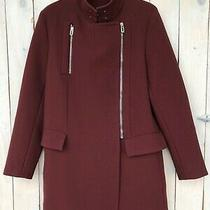 Balenciaga Paris Womens  Burgundy Coat Jacket Size 38 Photo