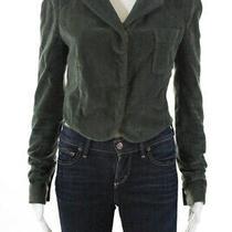 Balenciaga Paris Womens v Neck Velvet Cropped Jacket Green Cotton Fr Size 38 Photo