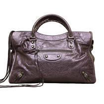 Balenciaga Purple Lambskin Leather Motorcycle Handbag Tote Man Bag Msrp 2200 Photo