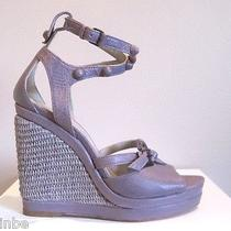 Balenciaga Purple Studded Straw Wedge Platform Sandals 40 10 855 Photo