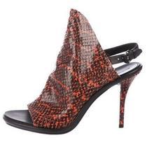 Balenciaga Python Glove Red Snake Skin Leather Open Toe Slingback Heel 38.5 8 Photo