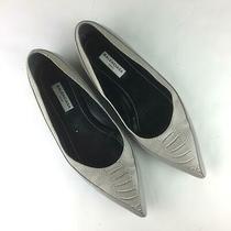 Balenciaga Python Pattern Leather Flats Women Eur 36.5 Us 6 6.5 Gray Photo