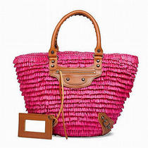 Balenciaga Raffia Straw Tote Beach Bag Pink Free Worldwide Ship Photo