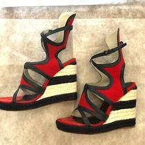 Balenciaga Red/navy Satrapy Wedge Sandals Photo