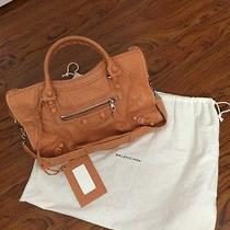 Balenciaga Rose Blush (Pale Orange) Covered Leather Brogues City Bag Photo