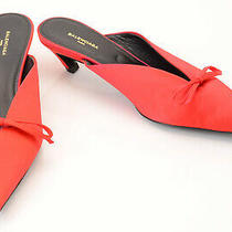 Balenciaga Ruby Red 6 36 Satin Bow Slip on Point Toe Mule Pump Shoe New 750 Photo