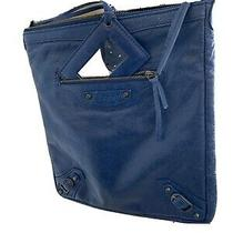 Balenciaga Small Messenger Flat Crossbody Bag  Blue  2013 Excellent Photo