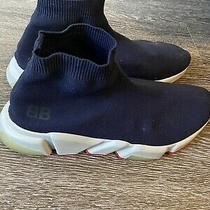 Balenciaga Speed Navy Blue Mid-Top Trainer Sock Sneakers Size 44 Photo