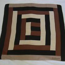 Balenciaga Square Op Art Brown Tones Vintage Silk Scarf Photo
