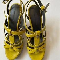 Balenciaga Sz 40 Wedge Sandal Lemon Espadrille 745 Nib New Studded Boho Heels Photo