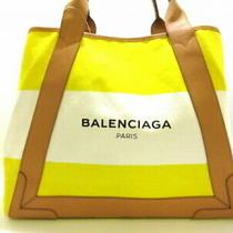 Balenciaga Tote Bag Navy Hippopotamus M 339936 Yellow White Beige Canvas L 5360 Photo