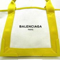 Balenciaga Tote Bag Navy Hippopotamus S 339933 Ivory Yellow Canvas Leather 5356 Photo