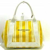 Balenciaga Tote Bag Navy Hippopotamus S 339933 Yellow Ivory Stripe Canvas 5347 Photo