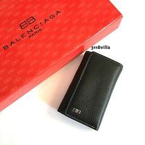 Balenciaga Trifold Leather Key Case Wallet -- Black Gold Photo