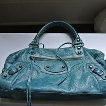 Balenciaga Turquoise Classic City First Studded Leather Blue Bag Purse Handbag  Photo