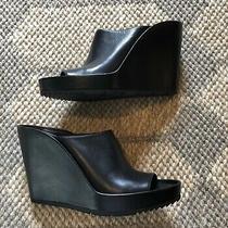 Balenciaga Wedge Black Leather Mule Eu Size 39.5 Us 9.5 Photo