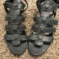 Balenciaga Wedge Charcoal Dark Gray Grey Studded Gladiator Sandals Size 38.5 Us8 Photo