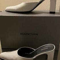 Balenciaga Women Mules White Optic  Calf Leather 8/38 Photo