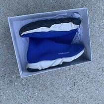 Balenciaga Women Speed Sock Trainer Blue & White Runner Sneakers Size43  Us10 Photo