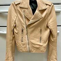 Balenciaga Womens Blush Leather Fitted Moto Jacket Coat Us6-8/ Fr40 S/m Photo