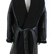 Balenciaga Womens Faux Leather Oversized Tie Belt Wrap Coat Black Size 38 Eur Photo