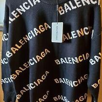 Balenciaga Womens Logo Pullover Top Sweater Size Medium Photo
