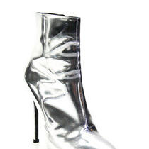 Balenciaga Womens Silver Mirrored Patent Leather Ankle Boots Silver Size 38 8 Photo