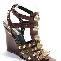 Balenciaga  Womens Strappy Studded Wedge Sandals Size 39.5  9.5 Photo