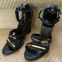 Balenicaga Moto Motor Cross Wedge Gladiator Sandals Heels Shoes Photo