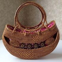 Bali Indonesia Art Hand Woven Ate Grass Natural Fiber Tote Handbag Purse Photo