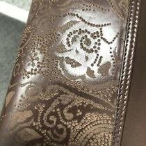 Ballin Brown Lamb  Embossed Leather Italian Clutch With Strap New Photo