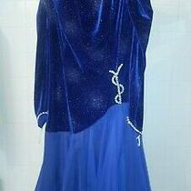 Ballroom Dancing Gown - Royal Blue Chiffon Dress Made With Swarovski Crystals Photo