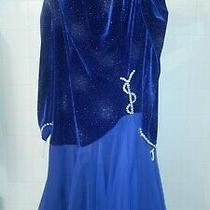 Ballroom Dancing Gown - Royal Blue Chiffon Dress With Swarovski Crystals Photo