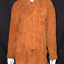 Bally 1050 Nwt Cognac Suede Leather Button-Front Coat L Photo
