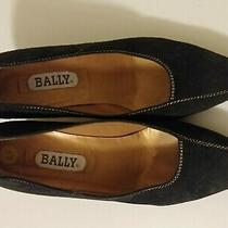 Bally 8.5m Pumps Vintage Classic Dark Blue Suede Gold Trim 2