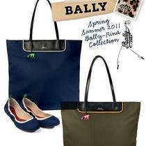 Bally Authentic Hanoe Small Navy Nylon With Leather Strap Tote Bag Photo