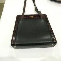 Bally Black and Brown Leather Purse Made in Italy Crocodile Pattern Trim Photo
