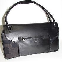 Bally Black Leather / Canvas Signature W/zipper Coin Purse Vintage Handbag Photo