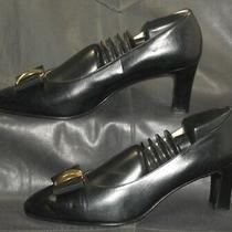 Bally Black Leather Closed Toe Pumps Heels Women's Shoes Size 5 1/2e  Photo