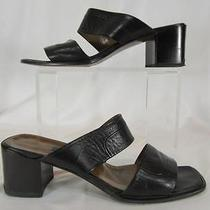 Bally Black Leather Open Toe Two Strap Calcata Mules Slides Block Heels 9m Box Photo